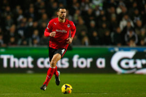 SWANSEA, WALES - FEBRUARY 08: Steven Caulker of Cardiff in action during the Barclays Premier League match between Swansea City and Cardiff City at the Liberty Stadium on February 8, 2014 in Swansea, Wales. (Photo by Paul Thomas/Getty Images)